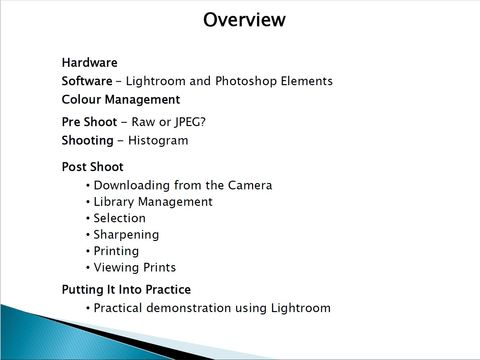 Summary slide from Post The Camera, a lecture by Mike Farley
